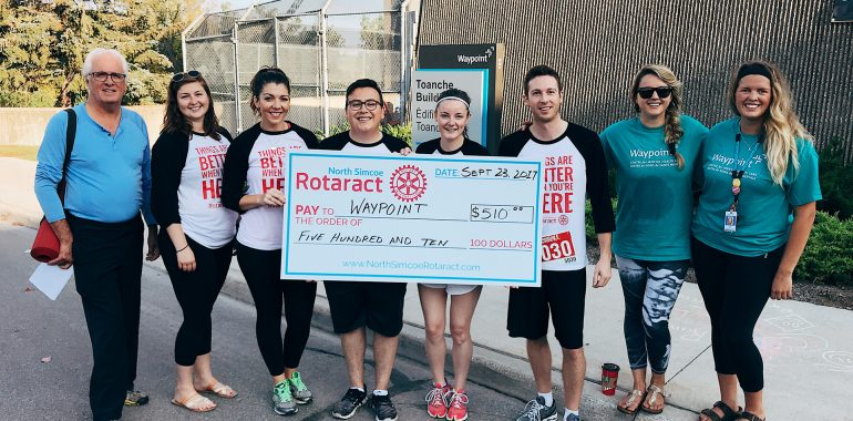Rotaract Club Donates $510 to Waypoint Centre for Mental Health